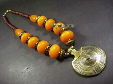 N4757 TIBET Tribal amber Resin beads Runway gypsy BRASS SPIRAL Pendant NECKLACE