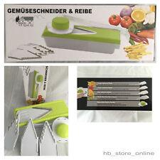 V Hobel Set de Luxe Gemüsehobel Reibe verschiedene Einsätze + Halter