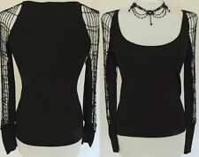 FAUST DESIGNER SEXY BLACK TOP CROCHET SLEEVES ROMANTIC GOTH VAMP EVENING CHIC 10