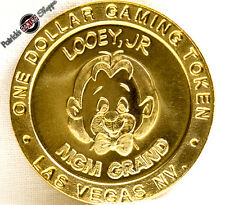 "$1 BRASS SLOT TOKEN COIN MGM GRAND CASINO 1993 GDC ""LOOEY JR."" LION LAS VEGAS NV"