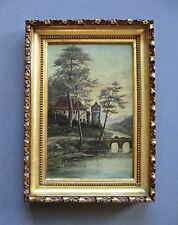 Antique 19th Century  Barbizon School  Castle Landscape Oil Painting