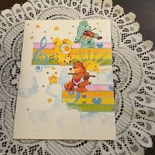 Vintage Greeting Card Care Bears Music Notes Hearts