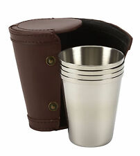 4 4oz stainless steel tumblers in leather trimmed pouch, shooting, golf, riding