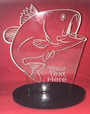 "Personalised Laser Engraved Fishing 7 1/2"" High Glass Effect Trophy"