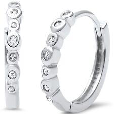 Bezel Set CZ .925 Sterling Silver Hoop Huggie Earrings