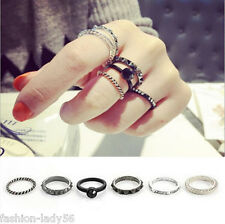 6PCS/Set Mid Midi Above Knuckle Ring Band Black Silver Tip Finger Stacking Punk
