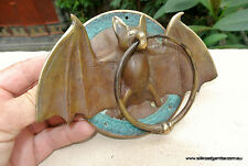 Door Knocker BAT ring old heavy front SOLID BRASS vintage antique style 7""