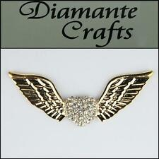 3D Angel Wings & Heart Gold Alloy Clear Diamantes DIY Phone Case Deco 3CB2013
