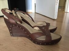 Uggs Australia Women's Brown Leather Heel Ankle Strap Sandals Size 10 W