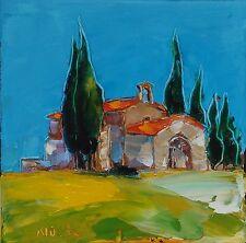 Tableau original de Nolac 20x20 cm art CHAPELLE D EYGALIERE peinture provence