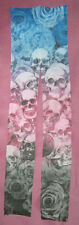 Long Skull Pattern Footless Tights Ladies 8-12 NEW. tattoo goth punk metal