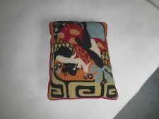 "Multi-Color ABSTRACT DESIGN NEEDLEPOINT PILLOW w/ Red Velvet Backing - 11"" x 15"""