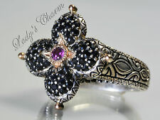 Barbara Bixby Pave' Black Sapphire Lotus Ring Sterling Silver 18K Gold Size 8