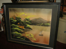 Superb Japanese Painting On Silk-Mt Fuji-Water & Boat Scene-Signed & Stamped-WOW