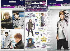 JUSTIN BIEBER TEMPORARY TATTOOS AND LARGE DECALS 3 PACKS set B NEW FREE SHIPPING