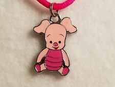 """Pink Winnie The Pooh's """"Piglet"""" Pendant Hot Pink Satin Necklace w/Lobster Clasp"""