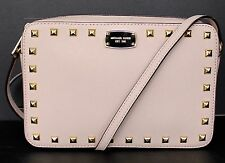 NWT~ MICHAEL KORS LEATHER SAFFIANO STUD LARGE EW CROSSBODY BAG - BALLET