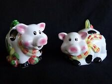 Pig Creamer and Sugar Set of 2 Bowl with Lid Black and White DSI Porcelain