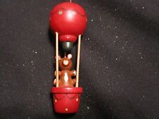 Vintage RUSS Bear in Hot Air Balloon Wood Wooden Christmas Ornament by RUSS