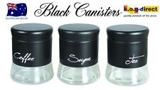 SET OF 3 MILANO CANISTER SET TEA COFFEE AND SUGAR BLACK BRAND NEW IN BOX