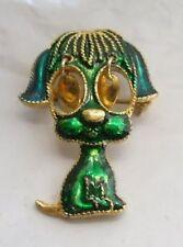 broche bijou vintage couleur or émail vert chien yeux mobiles  * 4159