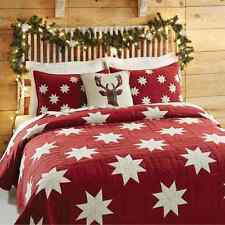 KENT 3pc Full Queen QUILT SET : COUNTRY CABIN RED CHRISTMAS STAR CREAM PATCH