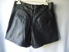 French Connection Marylou Genuine Leather Shorts Size 12 Black Festival Disco