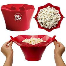 SILICONE MICROWAVE MAGIC POPCORN MAKER CONTAINER KITCHEN COOKING TOOL RED