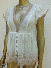 REVIEW COTTON WHITE EMBROIDERED BOHO Blouse SHIRT Top TUNIC 10