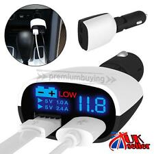 UK Car Charger Dual USB Plus Adapter Cigarette Lighter LED For All iPad Tablet