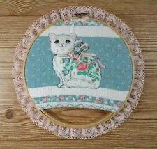 Cat Embroidery Hoop Tapestry - Hanging Wall Art Floral Kitten Lace Ruffle Trim