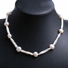 Large 20-30mm White Baroque Stick Shape Cultured Biwa Pearl Bead Necklace Choker