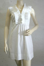 "$218 BCBG WHITE ""SLP6E036"" PLEATED SLEEVELESS COTTON DRESS NWT M"