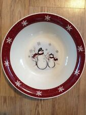 "EUC ROYAL SEASONS HOLIDAY SNOWMEN & SNOWFLAKES 10"" VEGETABLE SERVING BOWL"