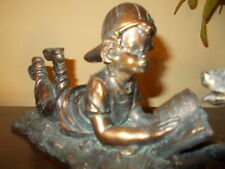 VINTAGE BRONZE DOG CHILD PUPPY FIGURINE STATUE ART DECO BOY READING BOOK