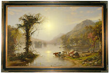 Cropsey Autumn on Greenwood Lake 1861 -Brown Framed Canvas Print Repro 23x34