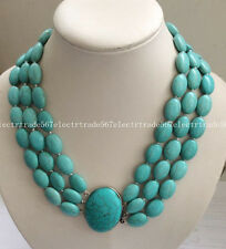 Fashion 3 Rows 13X18MM Blue Turkey Turquoise Gems Oval Beads Necklace 16-20""
