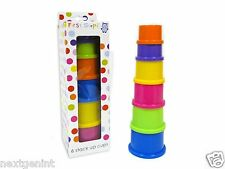 First Steps Baby 6 Stack Up Cups Toy Perfect for Gift Present 6 Months +
