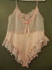 "VNTG, '70s/""80s, TOSCA LINGERIE of CALIFORNIA, Pink Nylon & Lace Teddy M"