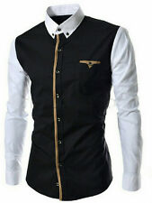 black and white fancy cotton shirt -L