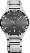 Mens Bering Ultra Slim All Titanium Band and Case Sapphire Date Watch 11739-772