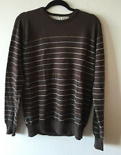 Men's Quiksilver Wool V Neck Striped Sweater Brown Medium