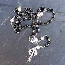 IRISH ROSARY BEADS KILKENNY MARBLE AND ROSE QUARTZ
