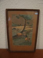 Vintage Antique Signed Japanese Woodblock Print Titled Rice Plantation