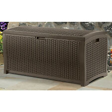 New Suncast Mocha Wicker Resin Deck Box 99 Gallon Outdoor Patio Yard Storage