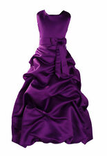 New Purple Satin Bridesmaid Party Pageant Flower Girl Dress 7-8 Years