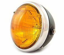 "7"" Custom Side Mount Motorcycle Headlight - Matte Black - Chrome - Amber"