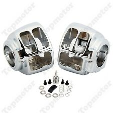 Chrome Handlebar Switch Housing Cover For Harley Dyna Wide Glide FXST FXD XL