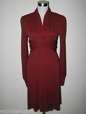 NWT RNWY MALO SILK BLEND LONG SLEEVE MAROON DRESS sz 40/4 made in Italy