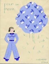 """""""POUR SON PYJAMA"""" Maquette gouache originale M. COMBRET vers 1940"""